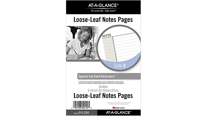 Day Runner Planner Notes Pages Size 4  (011-200)