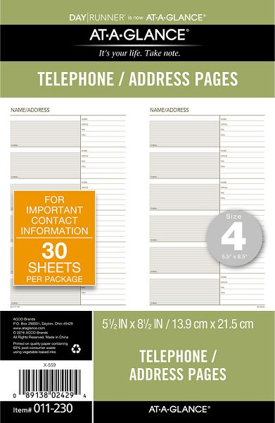 Address Pages Planner Refill - Loose-leaf Telephone/Address Planner Pages Refill - Day Runner(R) -