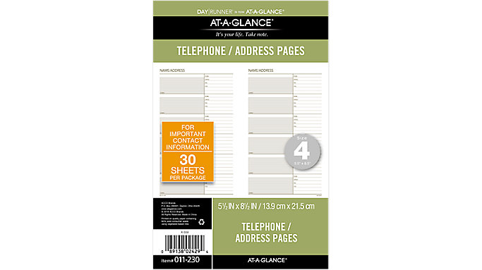 Day Runner Telephone-Address Planner Pages Size 4  (011-230)