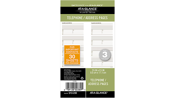 Day Runner Telephone-Address Planner Pages Size 3  (013-230)