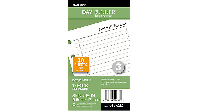 Day Runner Things To Do Pages Size 3  (013-232)