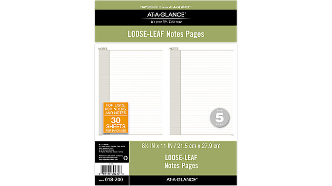 Day Runner Planner Notes Pages Size 5  (018-200)