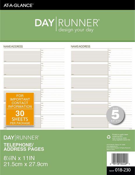 Day Runner Telephone-Address...