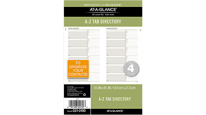 Day Runner Recycled Telephone/Address A-Z Tabs Size 4  (021-0100)