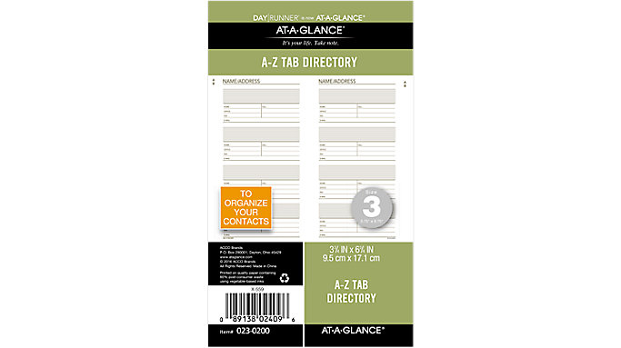 Day Runner Telephone-Address A-Z Planner Tabs Size 3  (023-0200)
