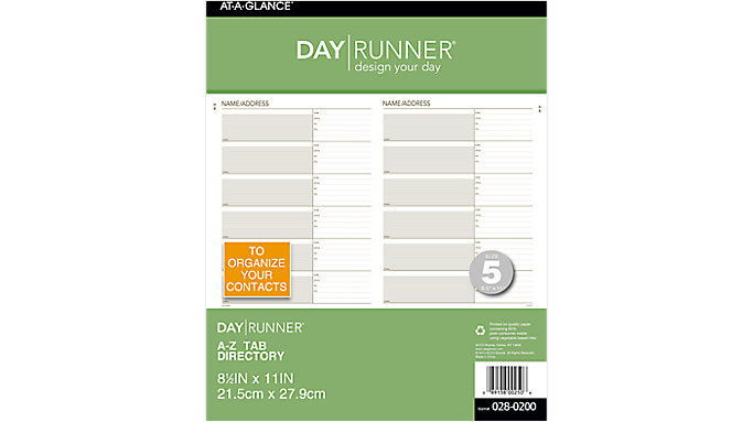 Day Runner Telephone-Address A-Z Planner Tabs Size 5  (028-0200)