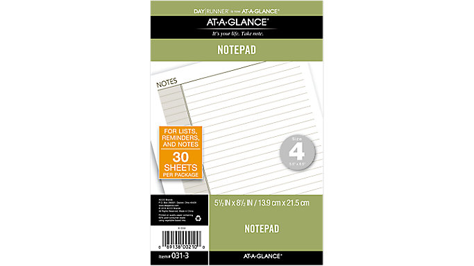 Day Runner Lined Note Pad Size 4  (031-3)
