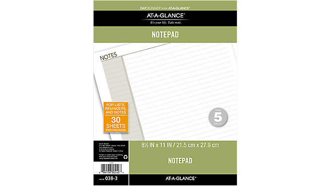 Day Runner Lined Note Pad Size 5  (038-3)
