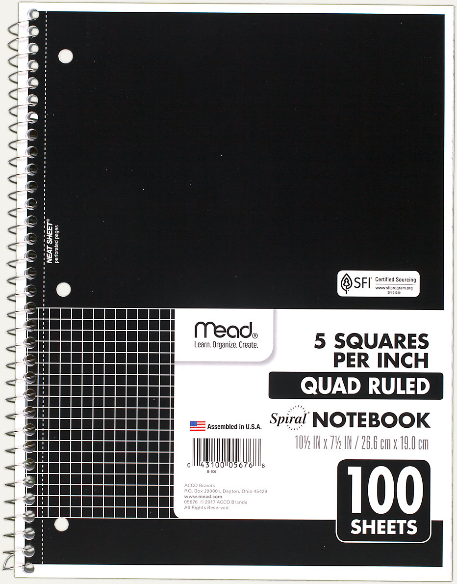 Spiral Quad Ruled Notebook | 05676 | Mead