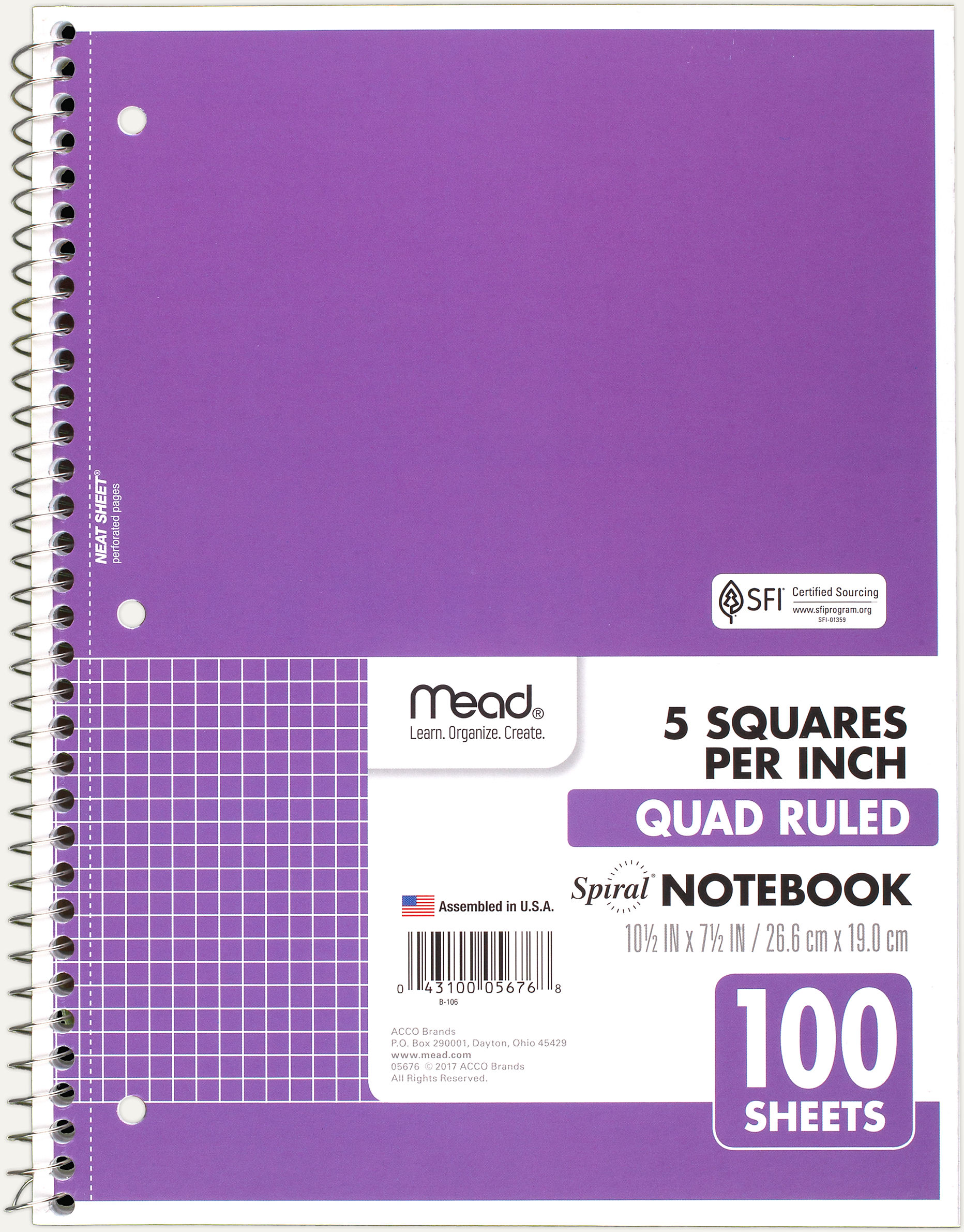 spiral quad ruled notebook 05676 mead