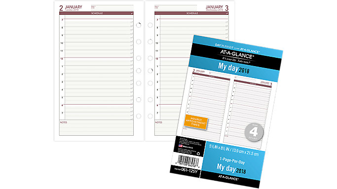 AT-A-GLANCE Day Runner Daily Planner Refill - Size 4  (061-125Y)