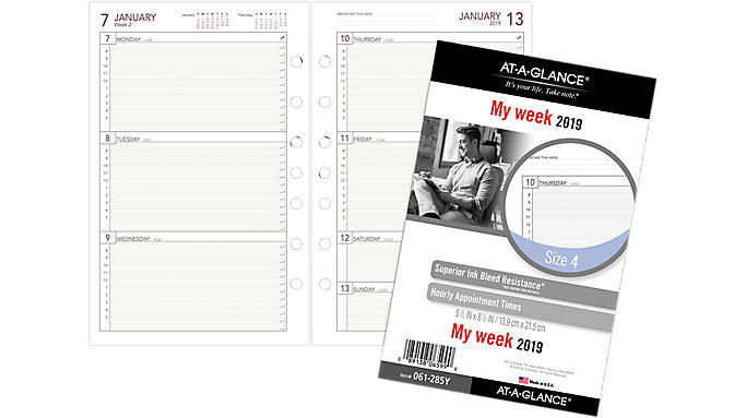 weekly planner refill size 4 061 285y at a glance day runner