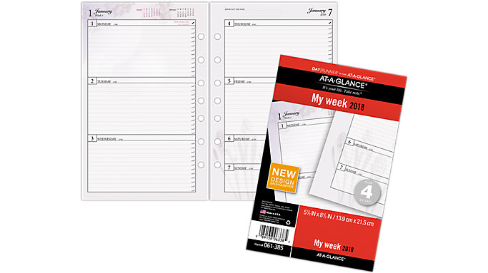 AT-A-GLANCE Day Runner Nature Weekly Planner Refill Size 4  (061-385)