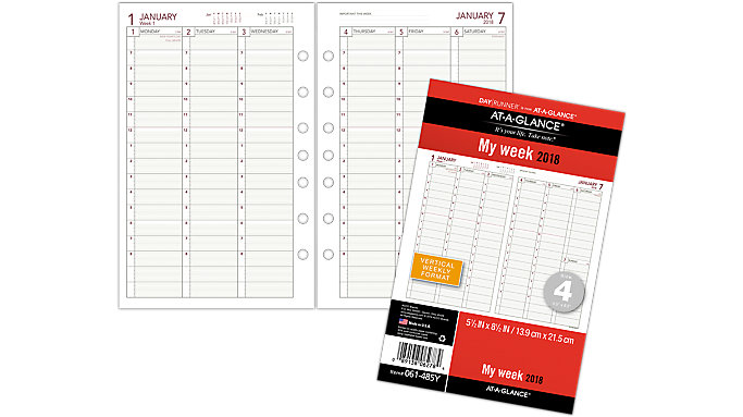 AT-A-GLANCE Day Runner Vertical Weekly Planner Refill Size 4  (061-485Y)