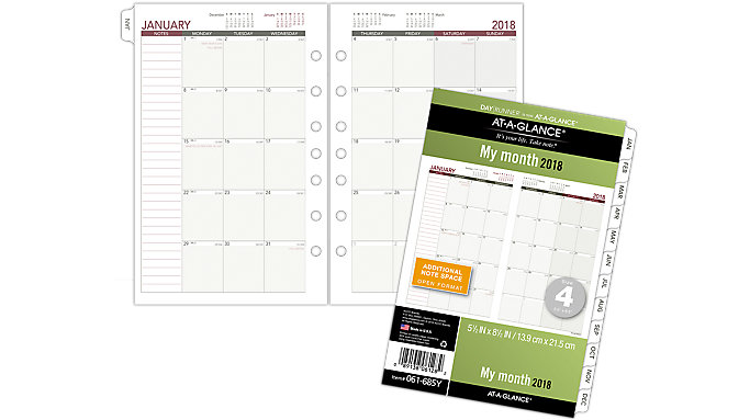 AT-A-GLANCE Day Runner Monthly Planner Refill Size 4  (061-685Y)