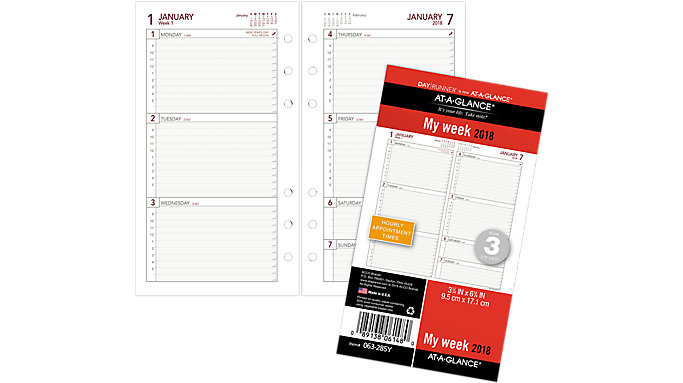 AT-A-GLANCE Day Runner Weekly Planner Refill Size 3  (063-285Y)