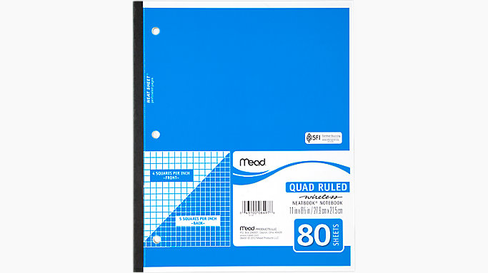 mead quad ruled wireless neatbook 06497