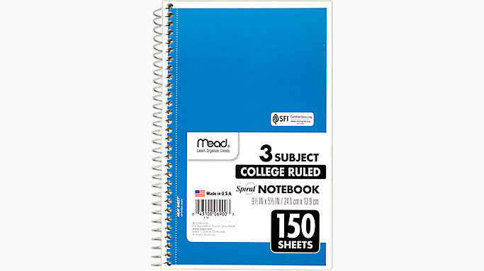 Spiral 3 Subject Notebook | 06900 | Mead