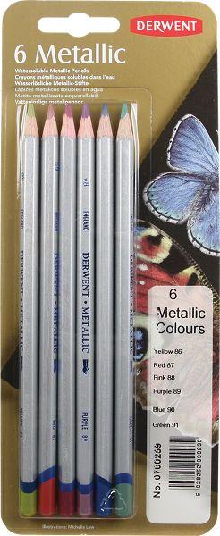 Derwent Metallic 6 Water Soluble Pencils Set - Derwent
