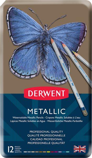 Derwent Metallic 12 Water Soluble Pencils Tin - Derwent