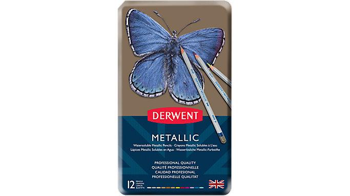 Derwent Metallic 12 Watersoluble Pencils Tin  (0700456)
