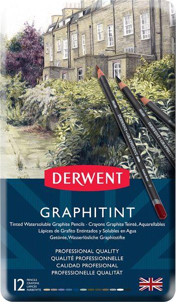 Derwent Graphitint 12 Tinted Graphite Pencils Tin - Derwent