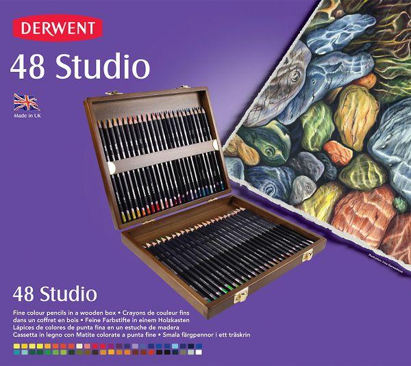 Derwent Studio 48 Fine Colour Pencils Wooden Box Set - Derwent