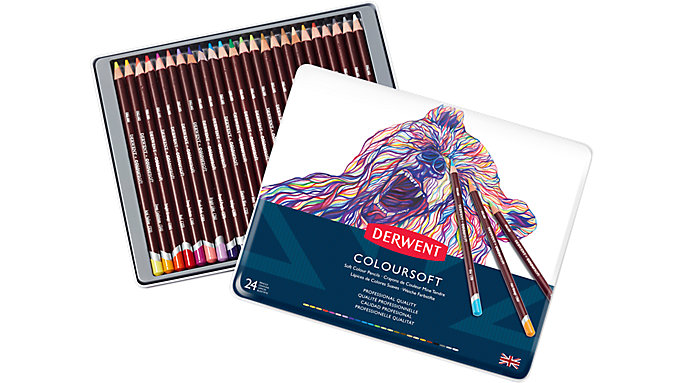 Derwent Coloursoft 24 Colour Pencils Tin  (0701027)