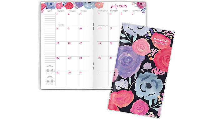 AT-A-GLANCE Midnight Rose Academic 2-Year Monthly Pocket Planner  (1101-021A)