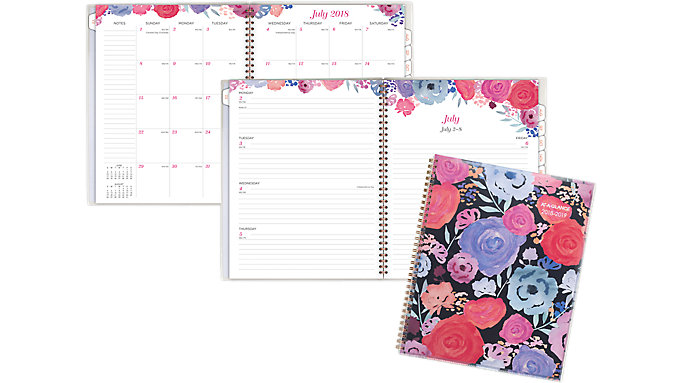 AT-A-GLANCE Midnight Rose Customizable Academic Weekly-Monthly Planner  (1101-901A)