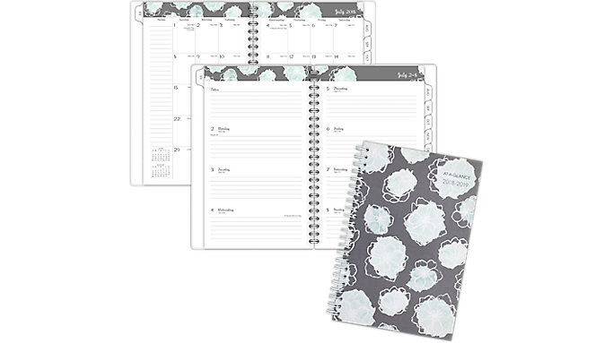 AT-A-GLANCE Mint Flora Academic Weekly-Monthly Planner  (1103-200A)