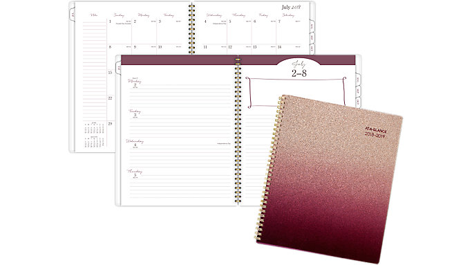 AT-A-GLANCE Brown Glitter Academic Weekly-Monthly Planner  (1122-905A)