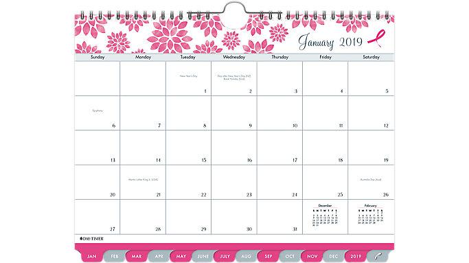 Day-Timer Pink Ribbon Tabbed Wall Calendar  (11259)