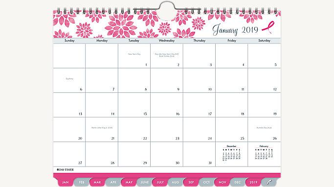 January 2019 Calendar Pink Pink Ribbon Tabbed Wall Calendar | 11259 | Day Timer