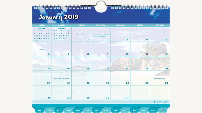 Coastlines Monthly Tabbed Wall Calendar    DayTimer