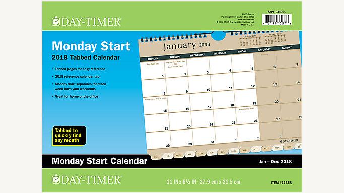 day timer monday start planning wall calendar 11358