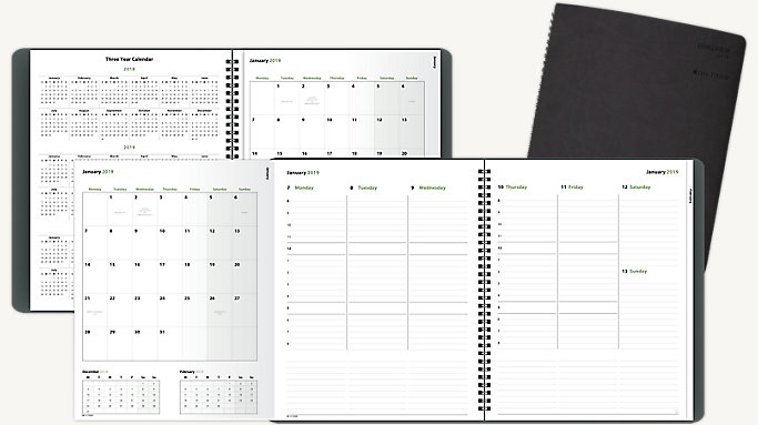photograph about Daily Planner Notebook identified as Working day-Timer DualView Weekly-Regular monthly Planner Laptop computer Sizing