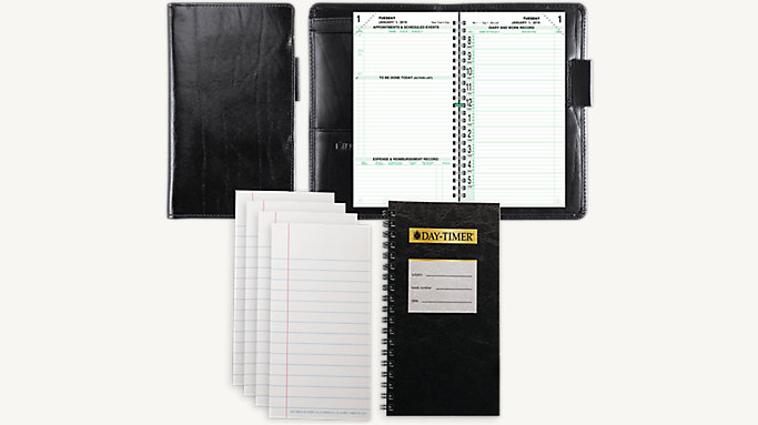 Day-Timer 2-Page-Per-Day Original Western Coach Leather Planner Set Pocket Size (1248)