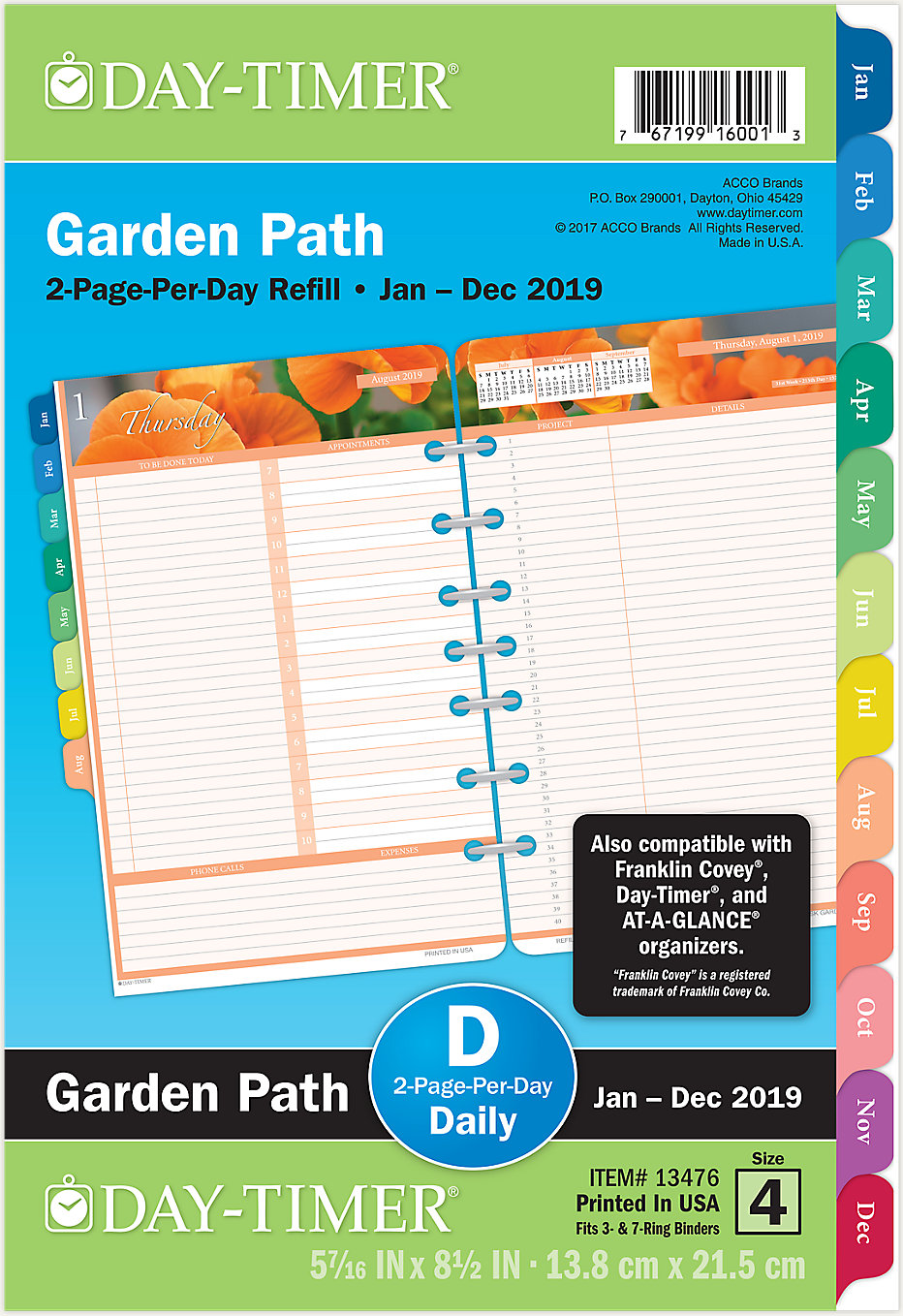 garden path 2 page per day planner refill desk size 13476 day timer