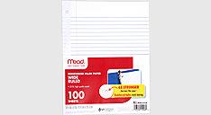 Reinforced Wide Ruled Filler Paper 100 Sheets (Item # 15006)