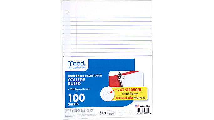 Mead Reinforced College Ruled Filler Paper 100 Sheets  (15008)