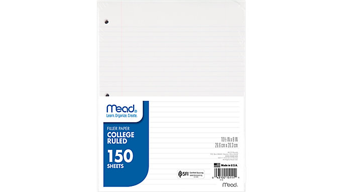 Mead College Ruled Filler Paper 150 Sheets  (15111)