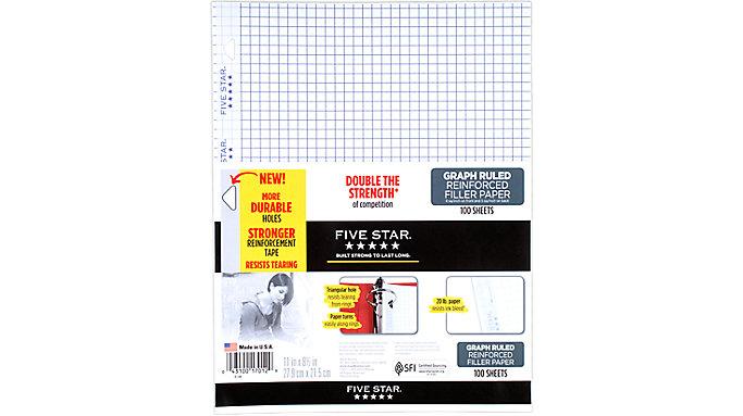 Five Star Reinforced Graph Filler Paper 100 Sheets  (17012)