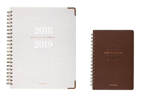 AT-A-GLANCE Signature Collection Brown and Gray Planners