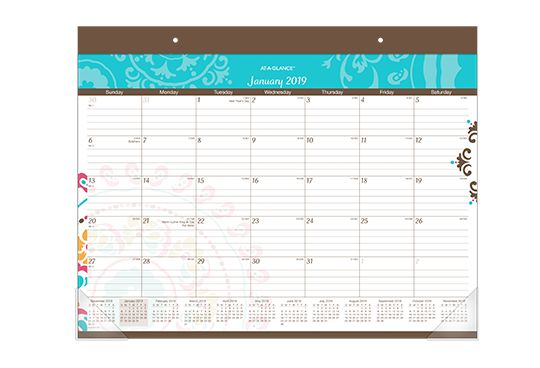 AT-A-GLANCE Medallion Design Desk Pad