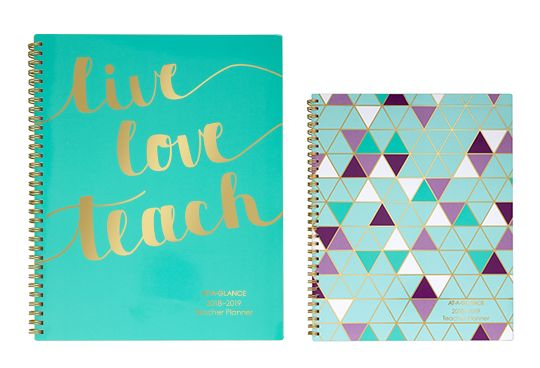 AT-A-GLANCE Teacher Planners Teal and Mosaic Design