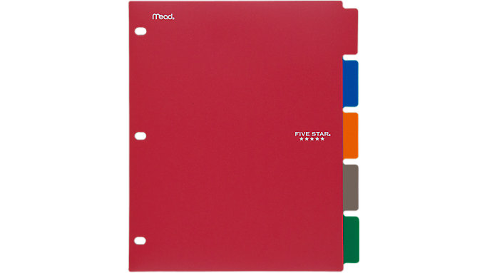 Five Star Tabbed Dividers 5 Pack  (20040)