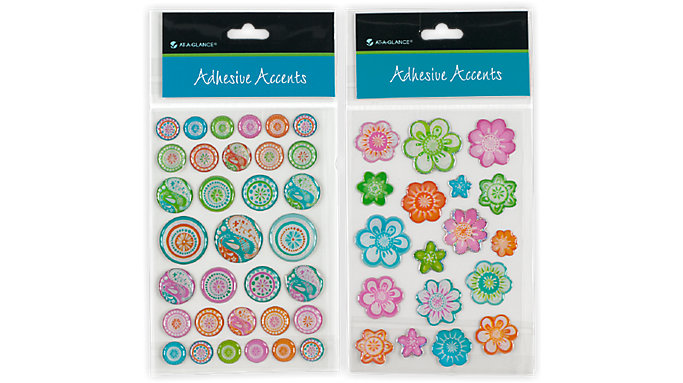 AT-A-GLANCE Adhesive Accents-Flowers-Designer Dots  (212-01)
