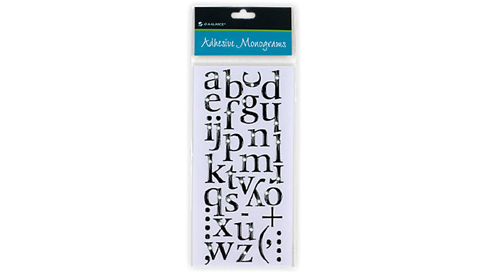 AT-A-GLANCE Adhesive Jeweled Black Monograms  (218-01)