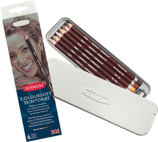 Derwent Coloursoft Skintones 6 Colour Pencils Tin - Derwent